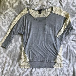 Gray & Cream Lacey Long Sleeve Top